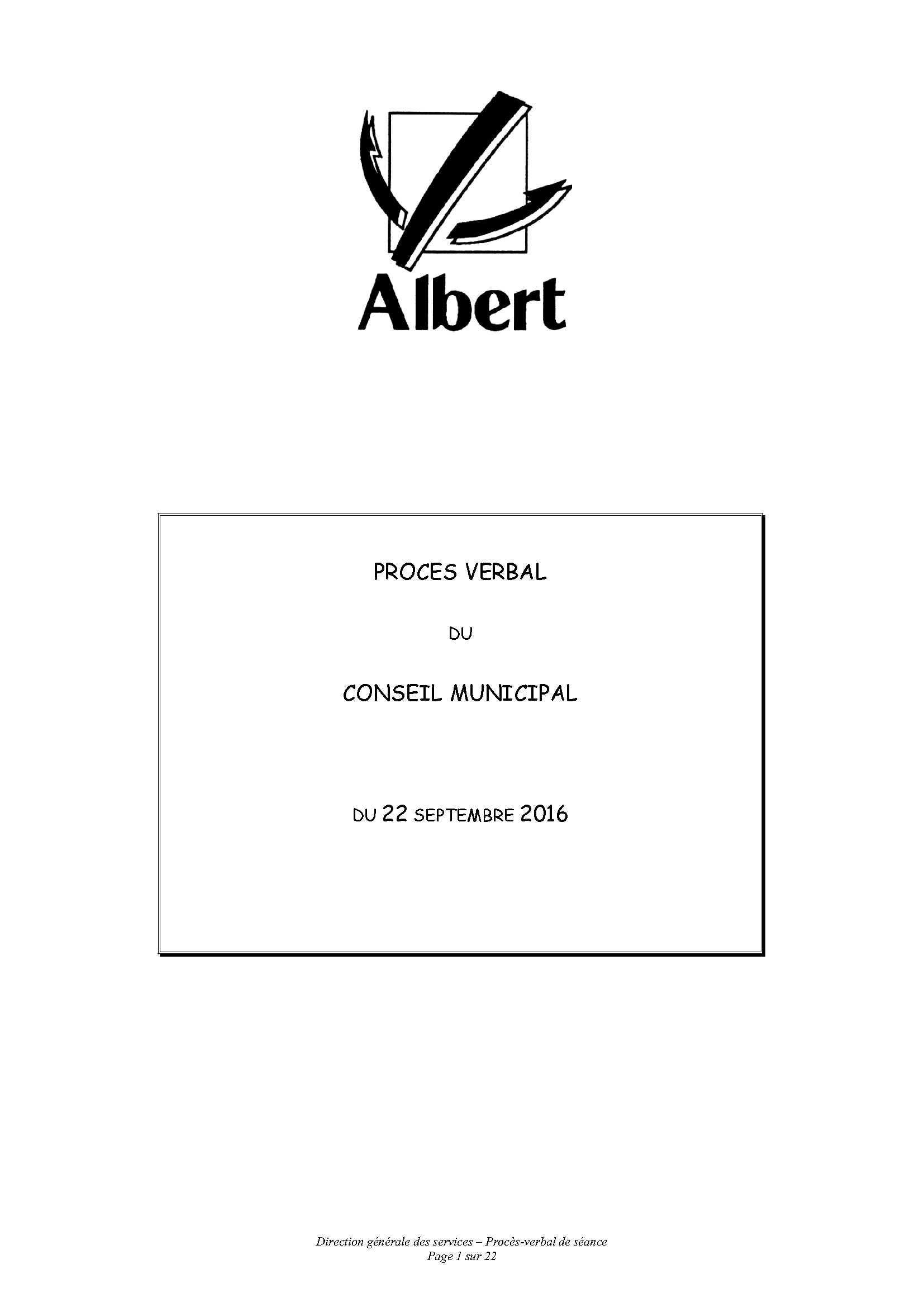 PROCES VERBAL DU CONSEIL MUNICIPAL DU 22 SEPTEMBRE 2016