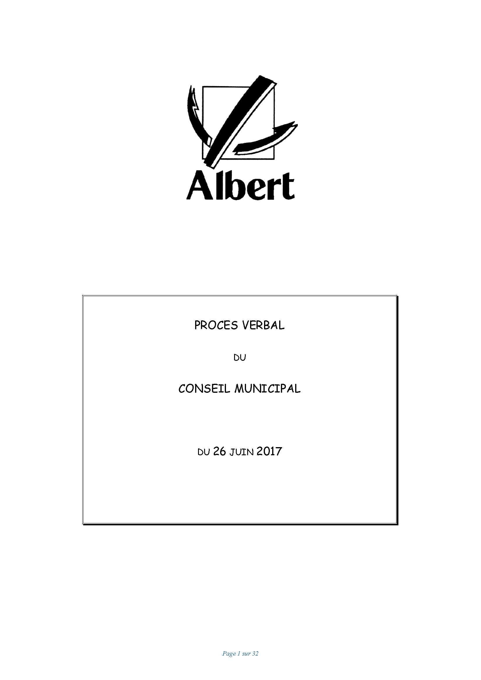 PROCES VERBAL DU CONSEIL MUNICIPAL DU 26 JUIN 2017
