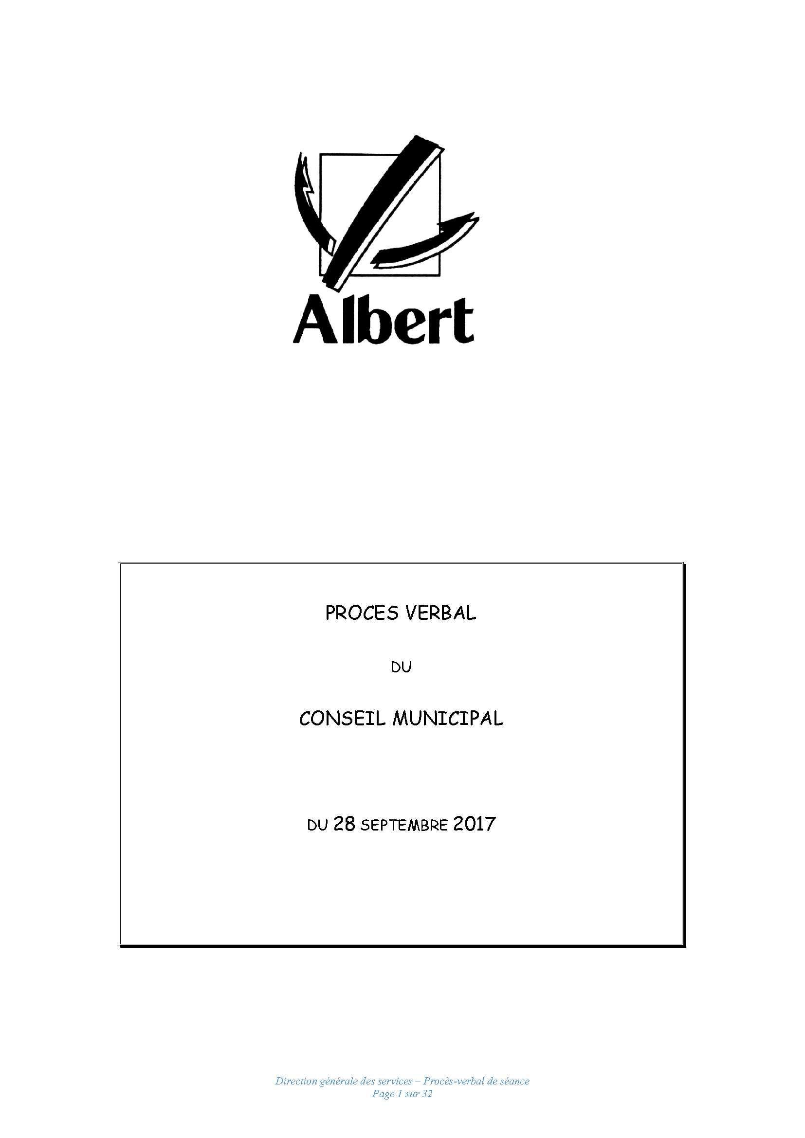 PROCES VERBAL DU CONSEIL MUNICIPAL DU 28 SEPTEMBRE 2017