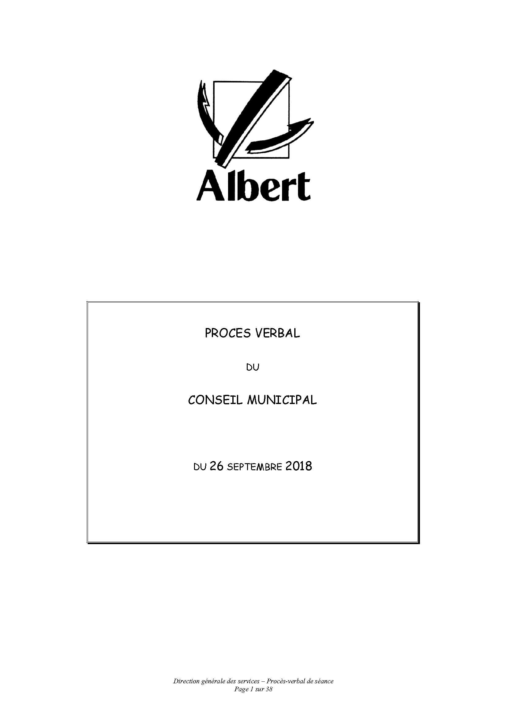 PROCES VERBAL DU CONSEIL MUNICIPAL DU 26 SEPTEMBRE 2018