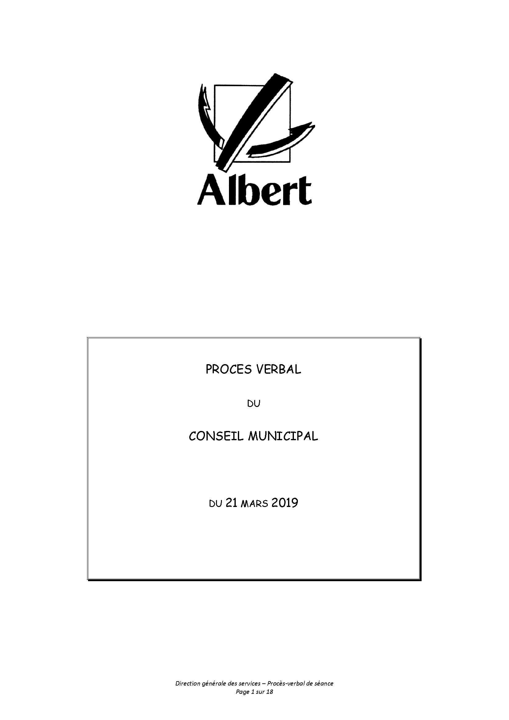 PROCES VERBAL DU CONSEIL MUNICIPAL DU 21 MARS 2019