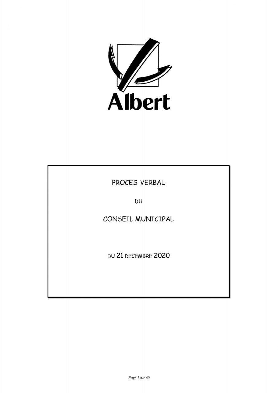 PROCES VERBAL DU CONSEIL MUNICIPAL DU 21 DÉCEMBRE 2020