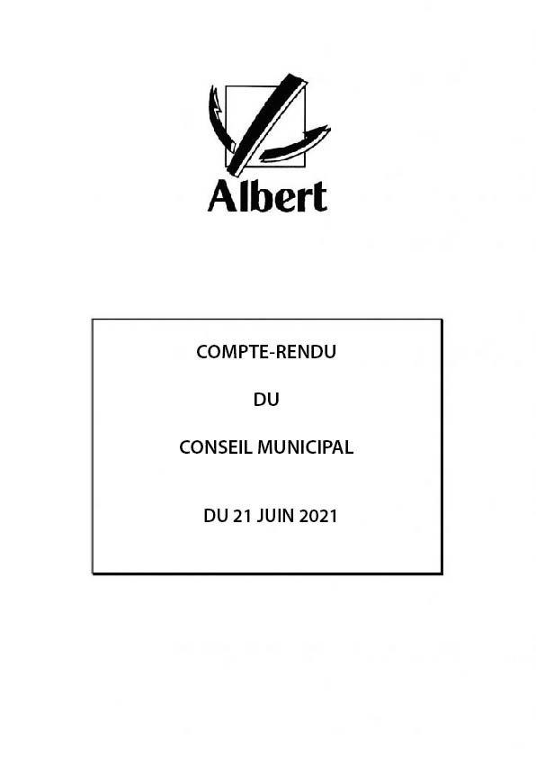 COMPTE-RENDU DU CONSEIL MUNICIPAL DU 21 JUIN 2021